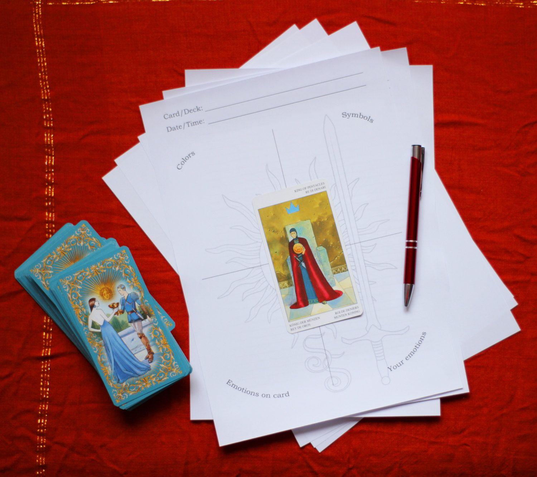 Tarot Card Cross Study Worksheet Second Variant Digital
