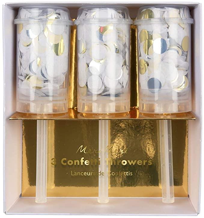 Amazon Com Meri Meri Metallic Confetti Party Favors Set Of 3 Toys Games White Confetti Gold Tissue Paper Confetti Party