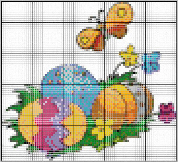 Schema punto croce uova e farfalline easter cross stitch for Farfalline punto croce