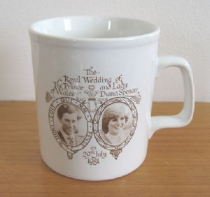 Royal Wedding (Charles and Diana) commemorative pottery mug (Fowey, Cornwall), 1981 (SOLD) - www.vanishederas.com