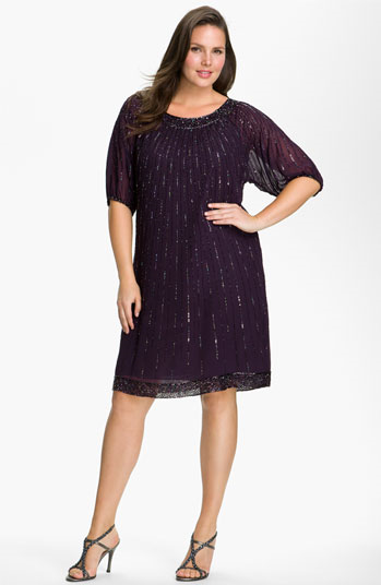 #J Kara                   #Dresses                  #Kara #Sequin #Chiffon #Shift #Dress #(Plus #Size)  J Kara Sequin Chiffon Shift Dress (Plus Size)                                 http://www.snaproduct.com/product.aspx?PID=5385296