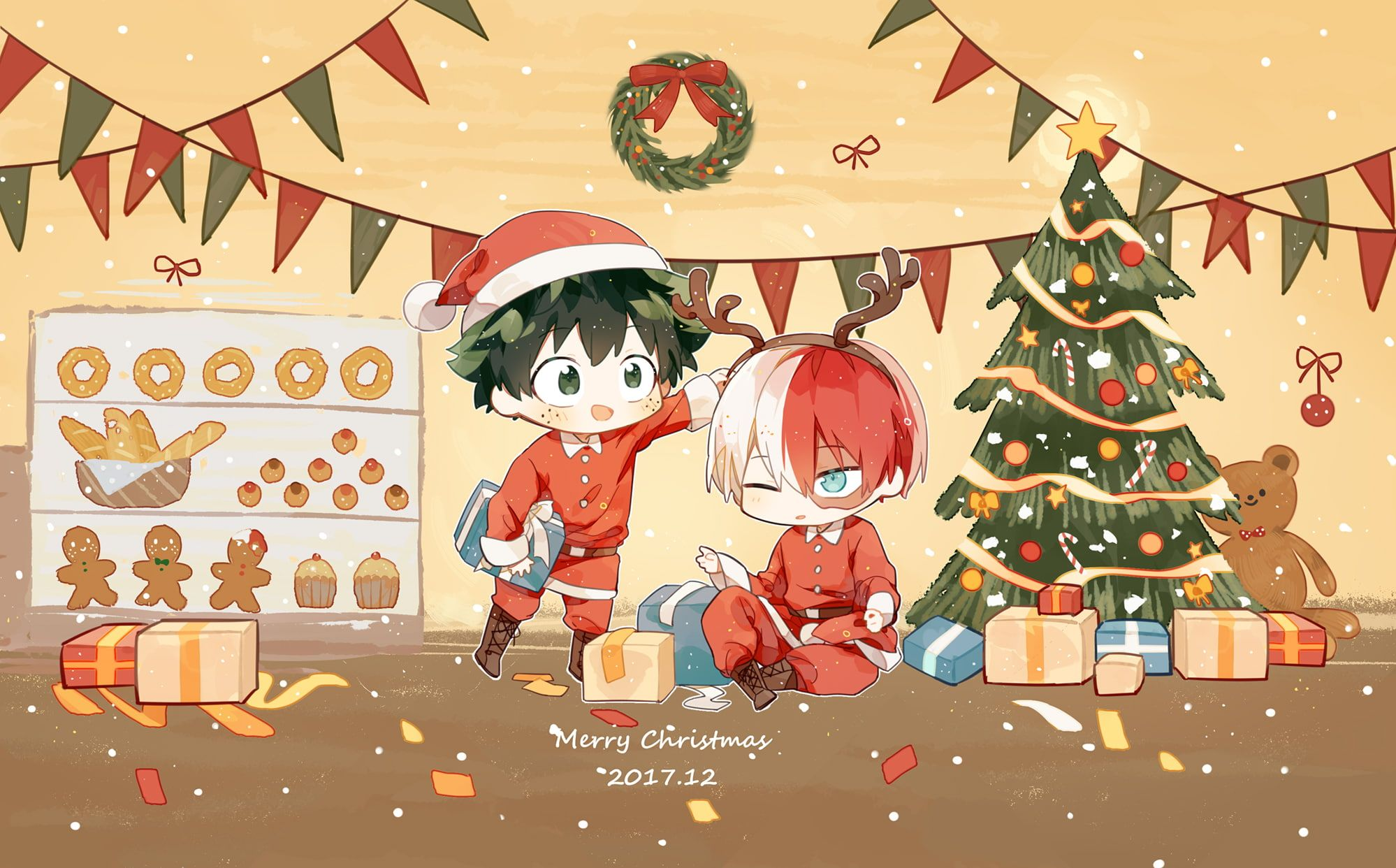 Anime My Hero Academia Christmas Izuku Midoriya Shouto Todoroki 1080p Wallpaper Hdwallpaper Desktop Anime Christmas Anime Wallpaper Anime