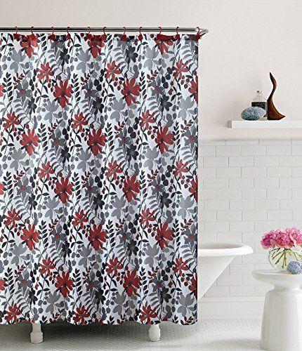 Floral Black Gray Red White Bathroom Shower Curtain Bed In A Bag Amazon Dp B00LTH8B90 Refcm Sw R Pi 7kS0ub0Y5QAGF