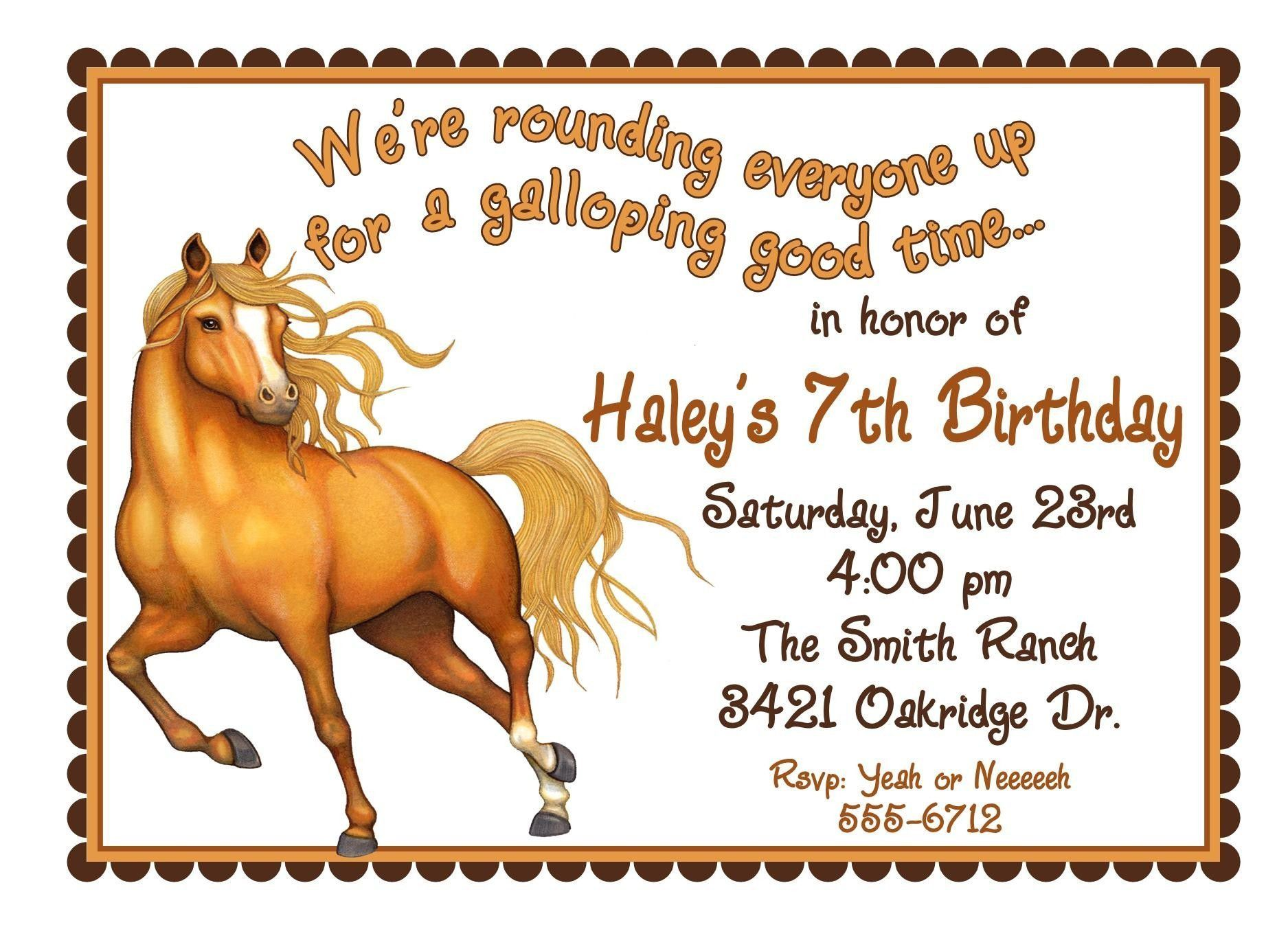 Free printable horse birthday invitations | birthday invitations ...
