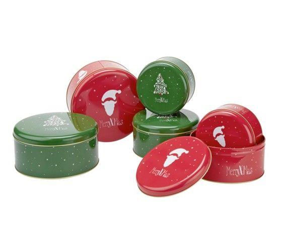 3-teiliges Keksdosenset in der Farbe Rot, stapelbar.