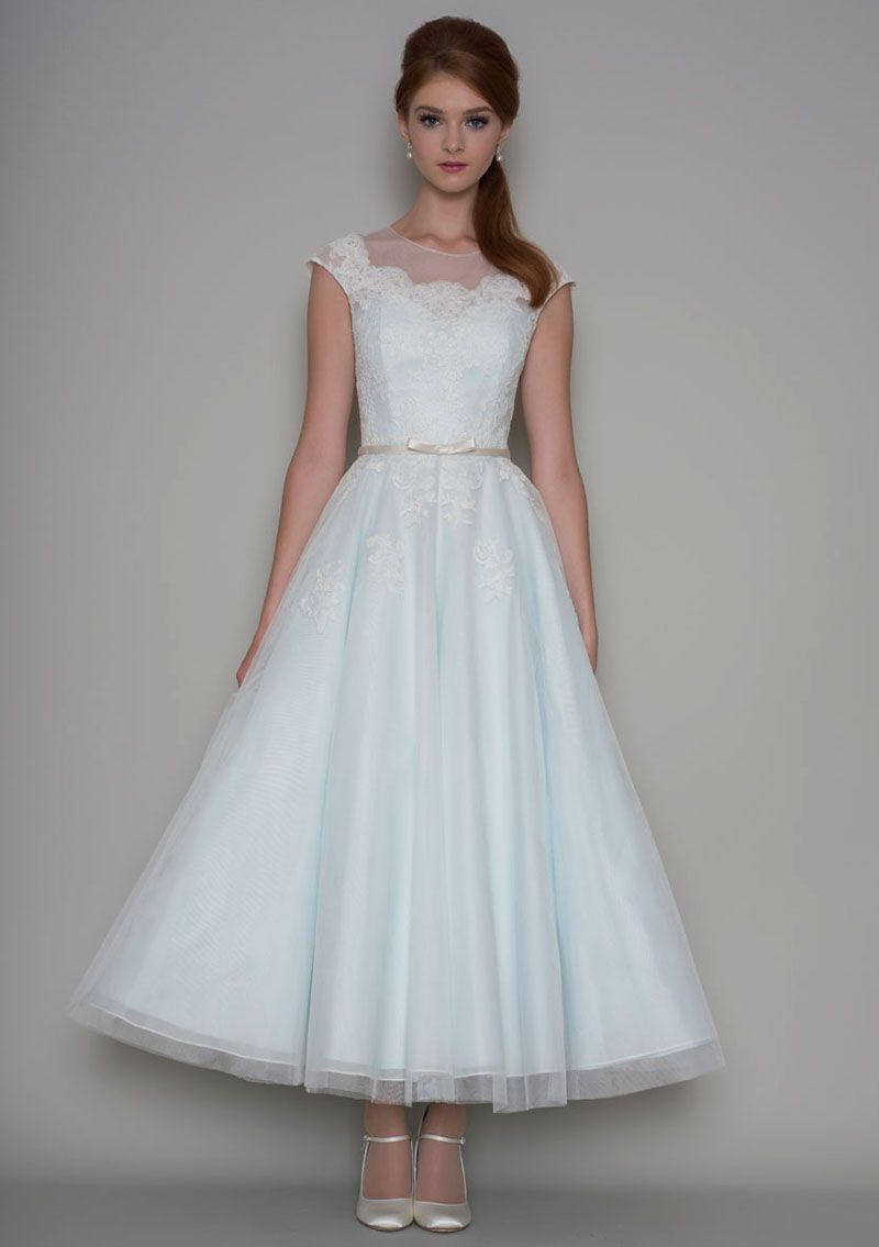 Vintage Inspired Ankle Length Light Blue Sheer Wedding Dress ...