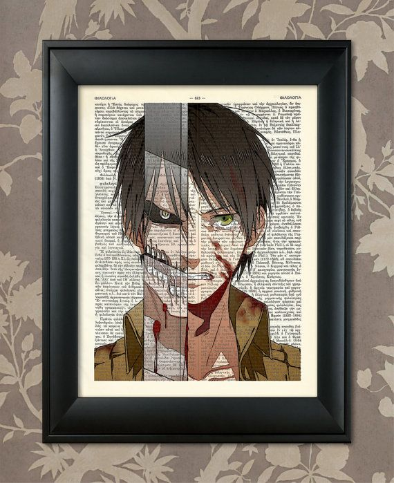 attack on titan eren transformation upcycled dictionary antique