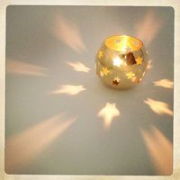 Vintage Brass Candleholders Round with Star Cutouts Votive