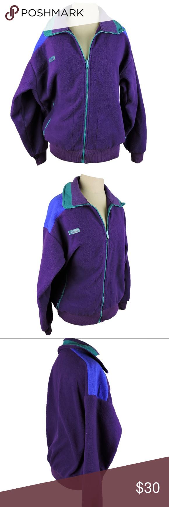 Columbia vintage s fleece jacket zip up purple pinterest