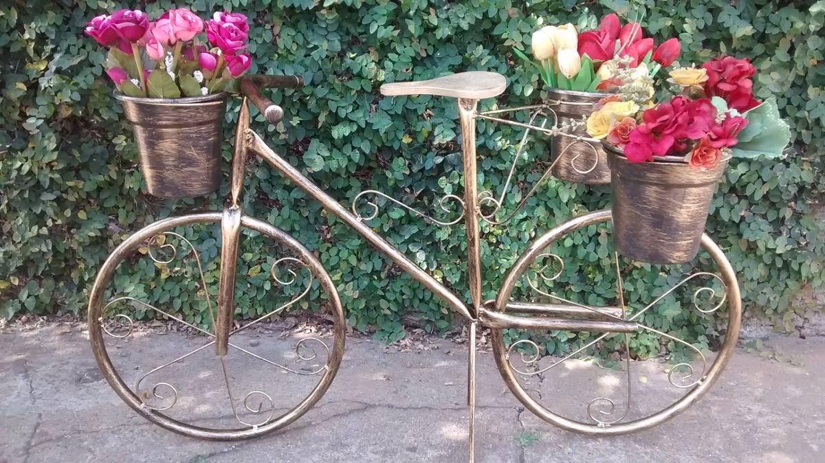 Bicicleta C/ Banquinho De Madeira Suporte Plantas Ouro Velho - R$ 134,90 no MercadoLivre