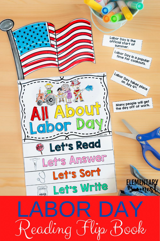 Labor Day Flip Book Elementary Activities Mini Flip Book Flip Book