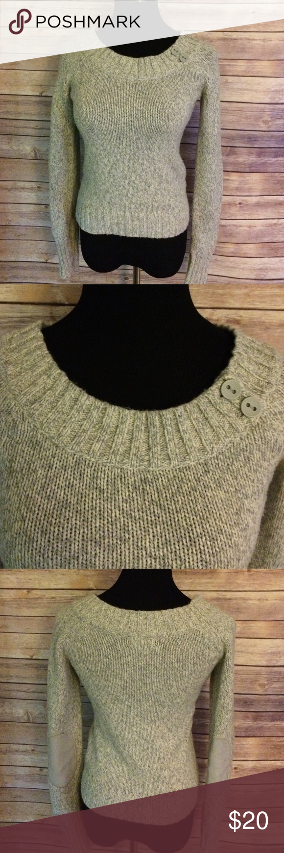 """Old Navy """"perfect fit"""" sweater Old Navy perfect fit sweater in small. Heather grey with patch elbows. Great condition and super soft! 40% acrylic 30% nylon 20% lambs wool 10% angora rabbit hair Old Navy Sweaters Crew & Scoop Necks"""
