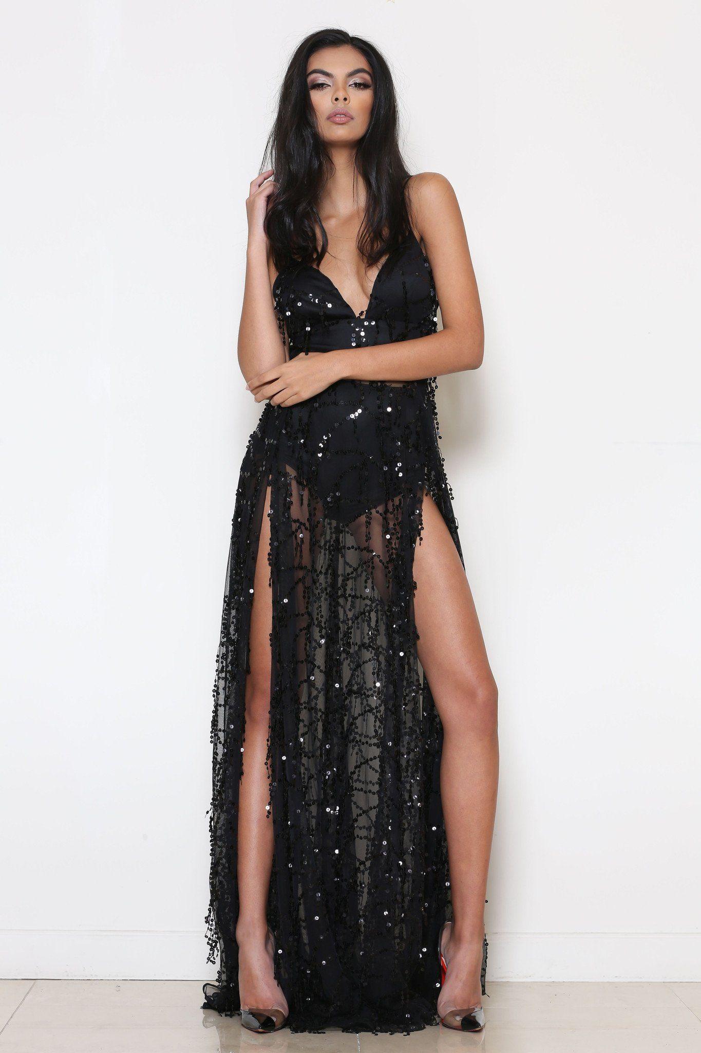b0737ce8977 Tiana Black Sequin Maxi Dress