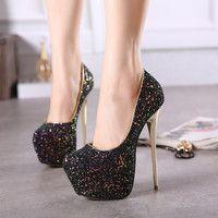 Glaring Sky-high Glitter Platform Stiletto Heels