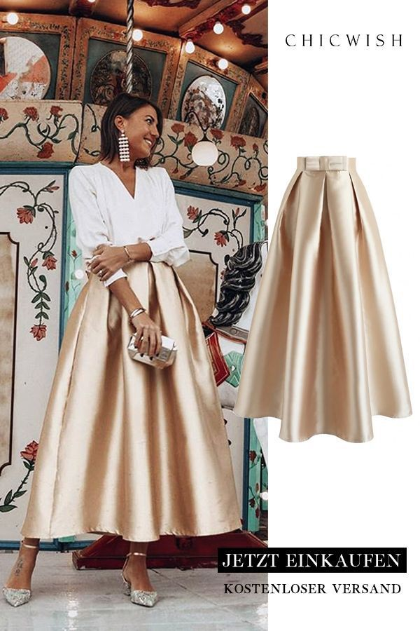 Luxurious Night – Pleated A-line Skirt with Bow – Questa Blog