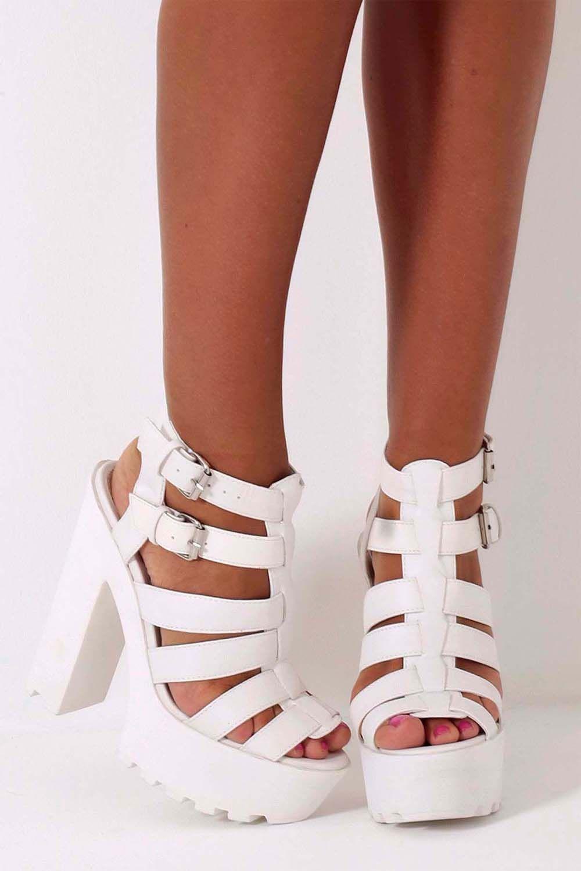 23d390eaf09 White Chunky Platform Sole Sandal