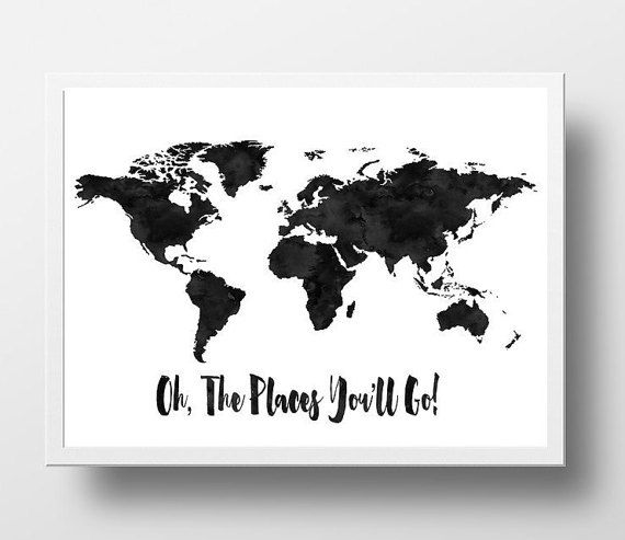 Printable World Map Print Oh The Places Youll Go By Ellenprintable