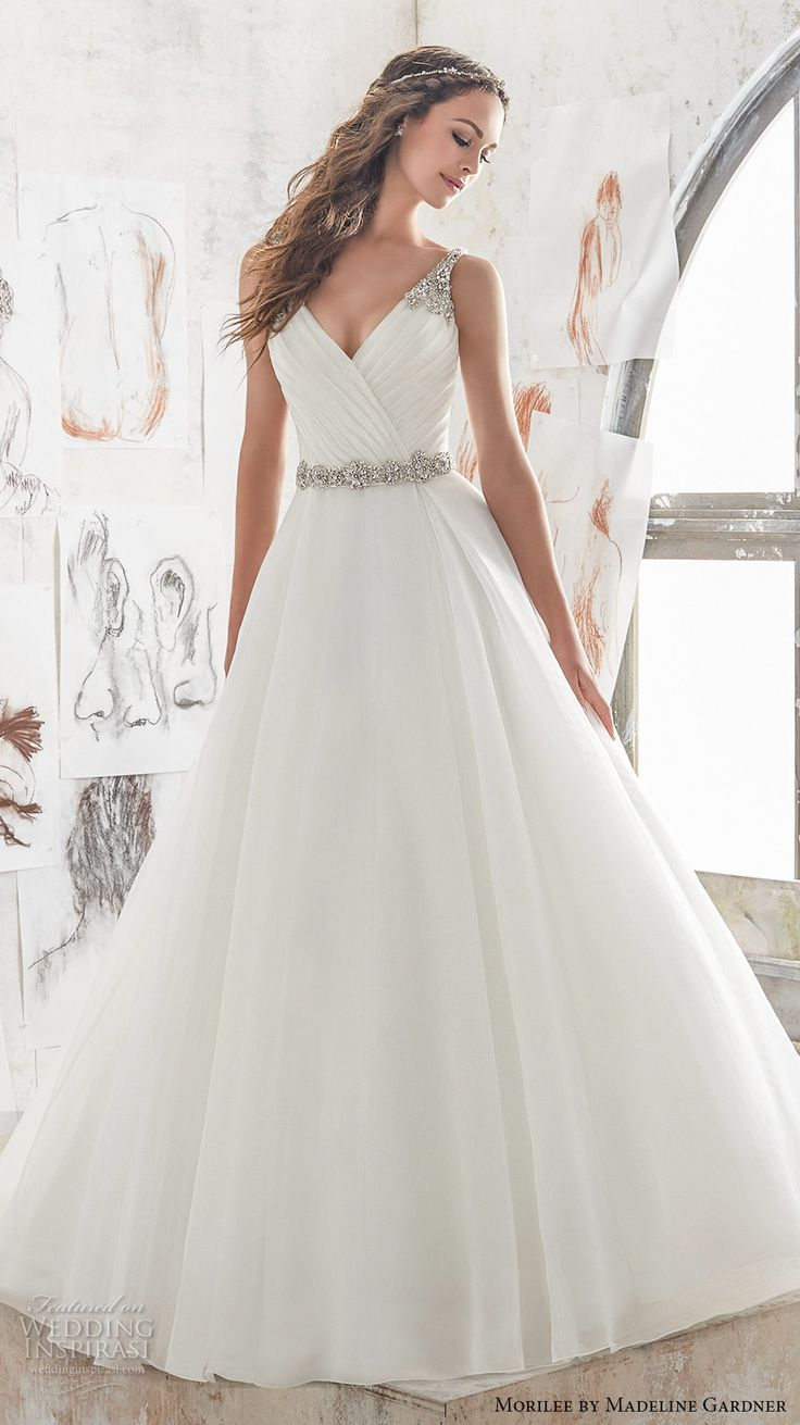 Wedding dresses stores  morilee spring  bridal sleeveless embroidered strap wrap over