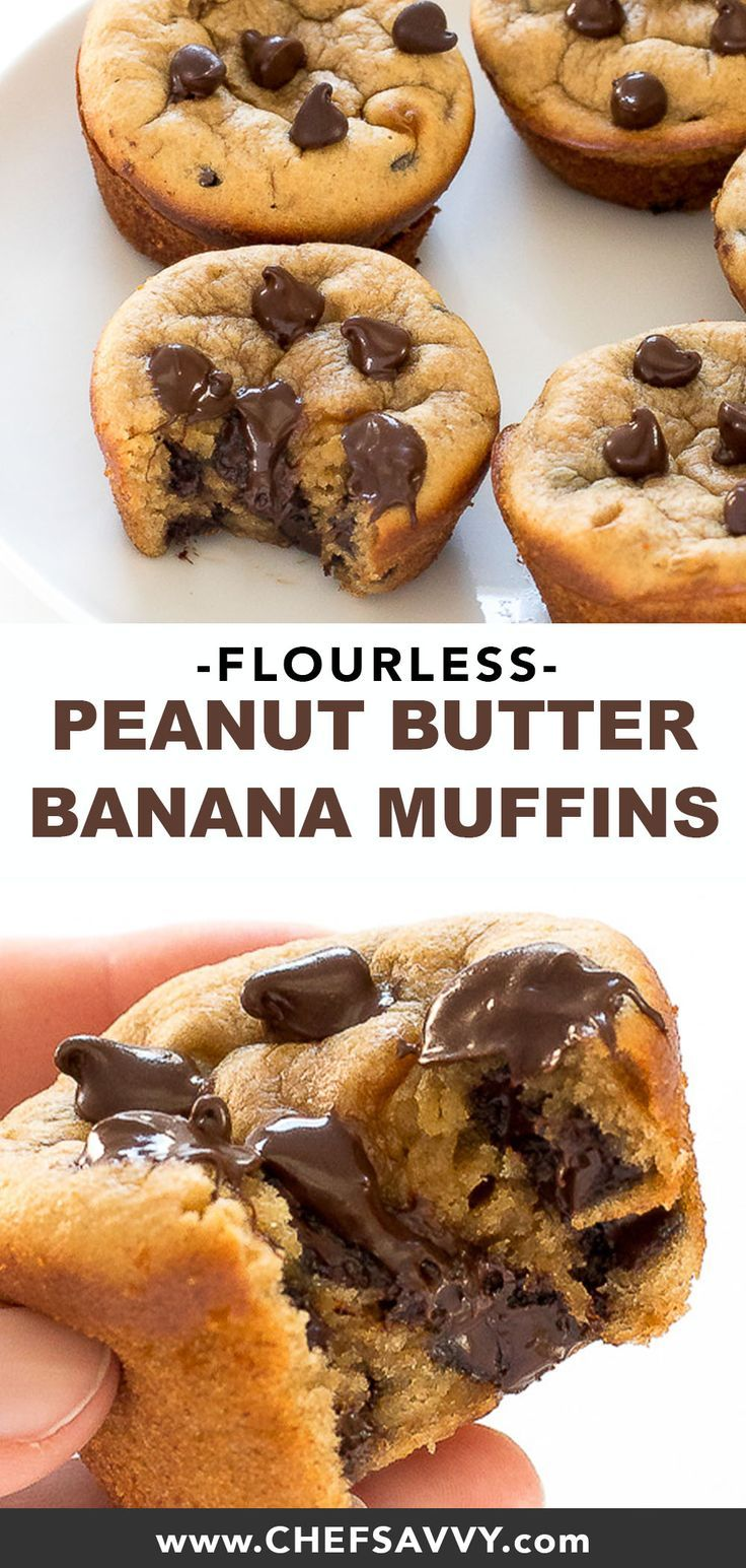 These Flourless Peanut Butter Banana Muffins couldn't be easier. Simply add all of the ingredients to a blender and pulse to combine that's it! Best of all they are healthy, gluten free and make an awesome breakfast or dessert! Ready in just 30 minutes. | chefsavvy.com #glutenfree #gf #peanutbutter #banana #muffins #recipe #muffin #snack #breakfast