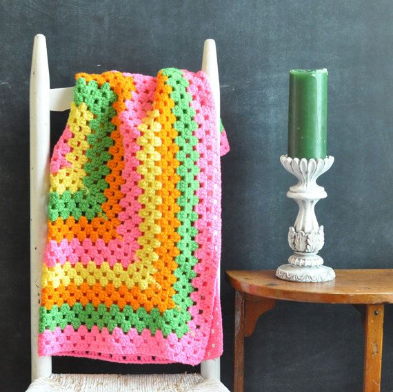 Vintage Afghan Throw Neon Pink and Green Delight | Labores de ...