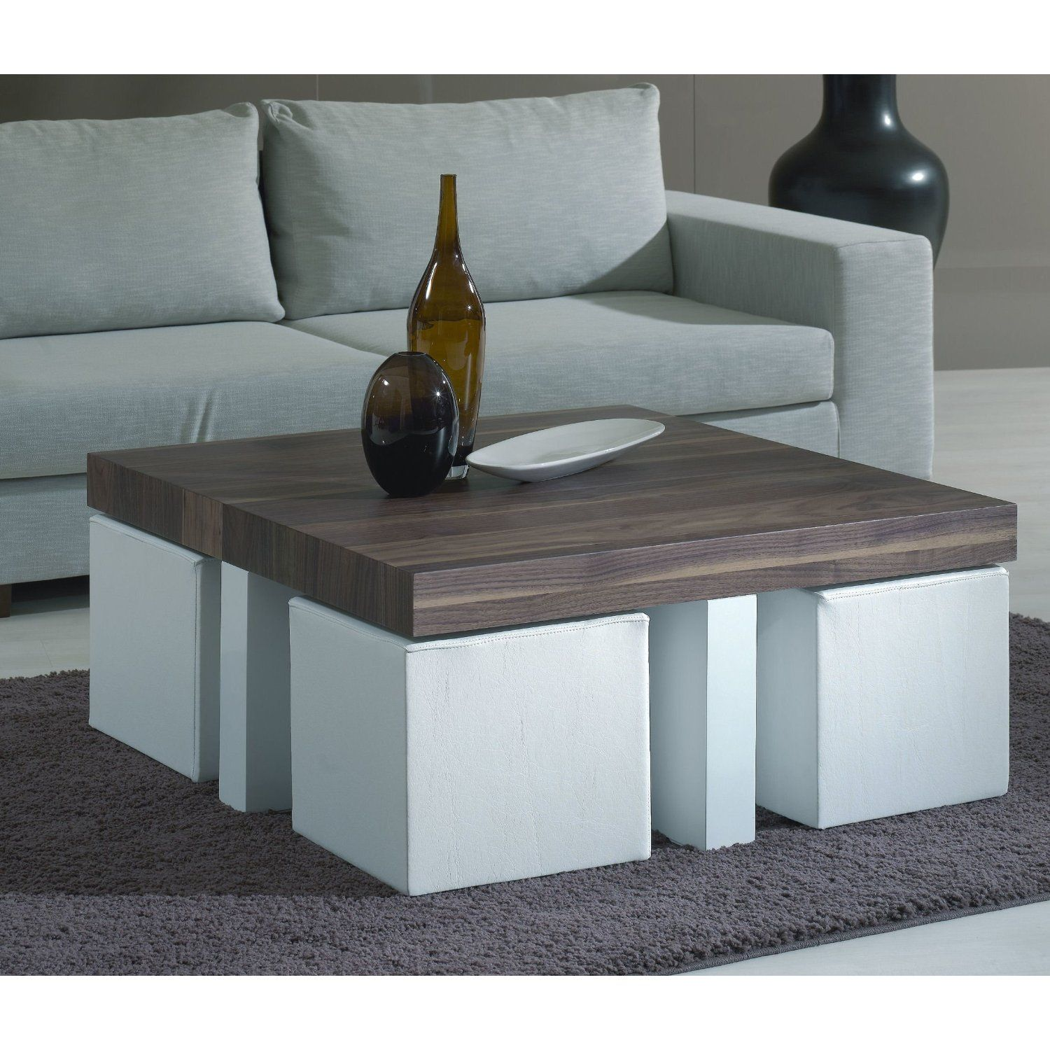 Coffee table with stools love this idea for stools tucked under a