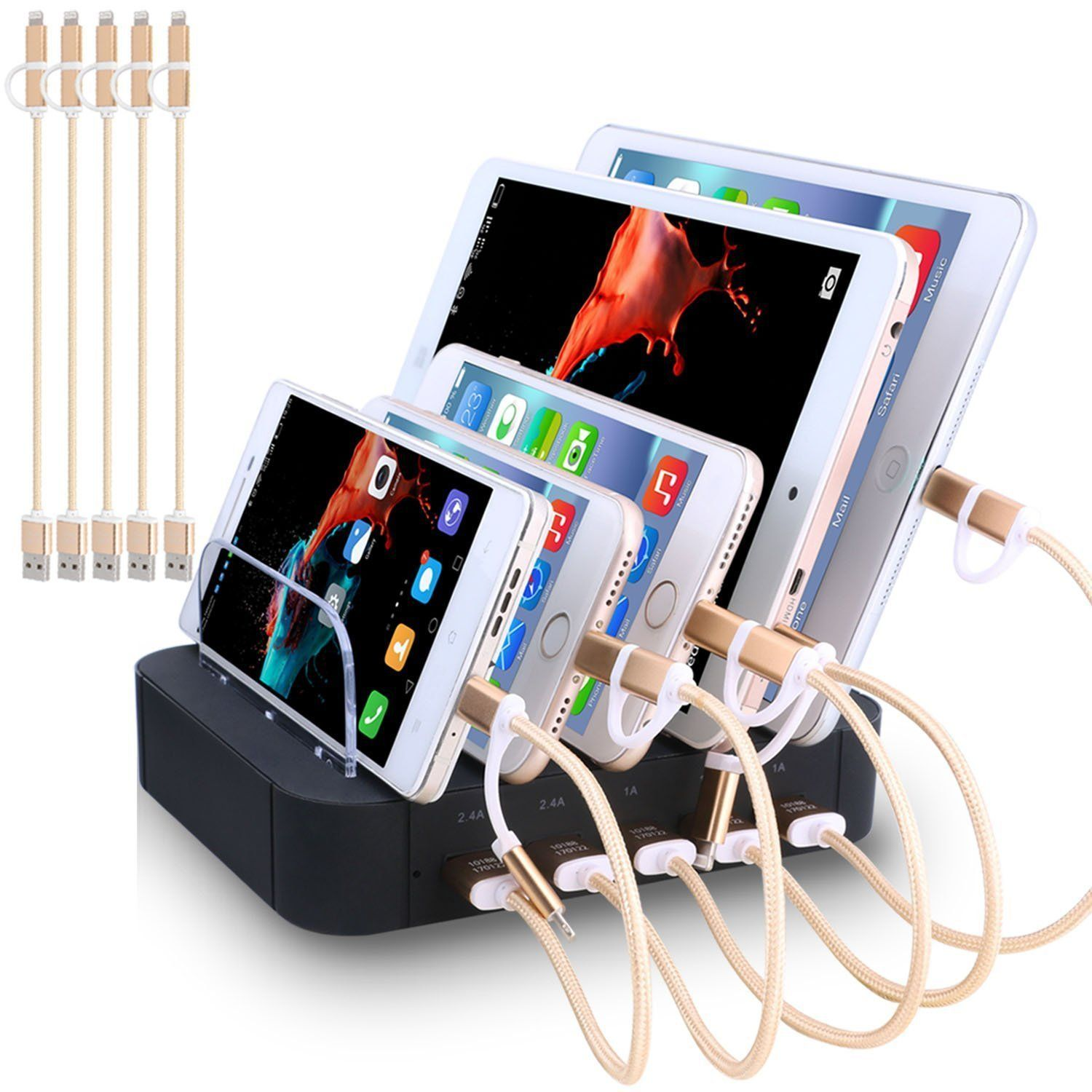 Charging station 5 port usb charger quick charge dock