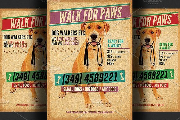 Dog Walkers Flyer Template 2 By Hotpin On Creativemarket Flyers