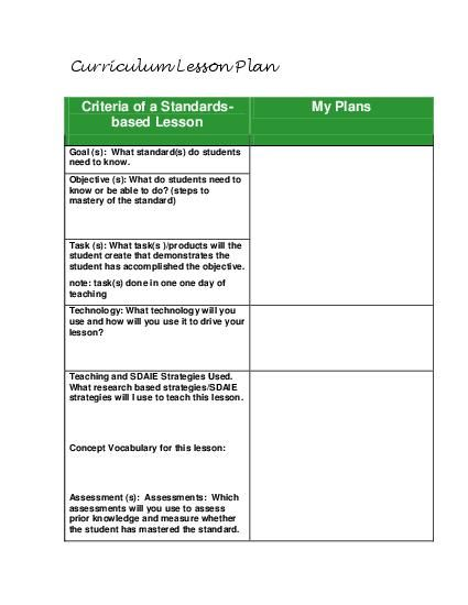 Standards Based Lesson Planning Guide Template For All