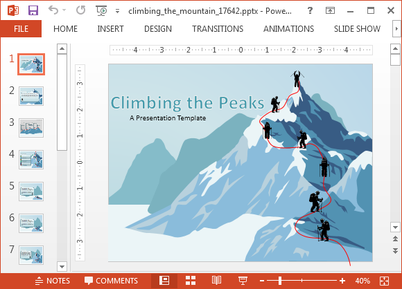 Climbing the mountain powerpoint template creative ideas animated climbing the mountain powerpoint templates toneelgroepblik Images