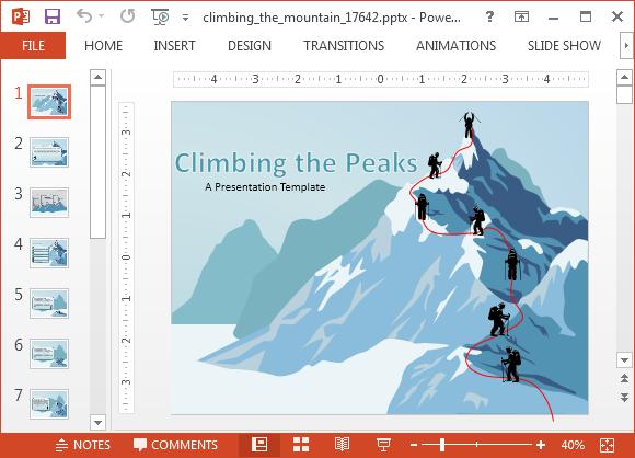 Climbing the mountain powerpoint template creative ideas animated climbing the mountain powerpoint templates toneelgroepblik Gallery