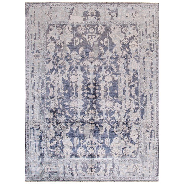 21st Century Modern Transitional Ivory Blue Indian Rug Indian Rugs Floral Design Rug Rugs