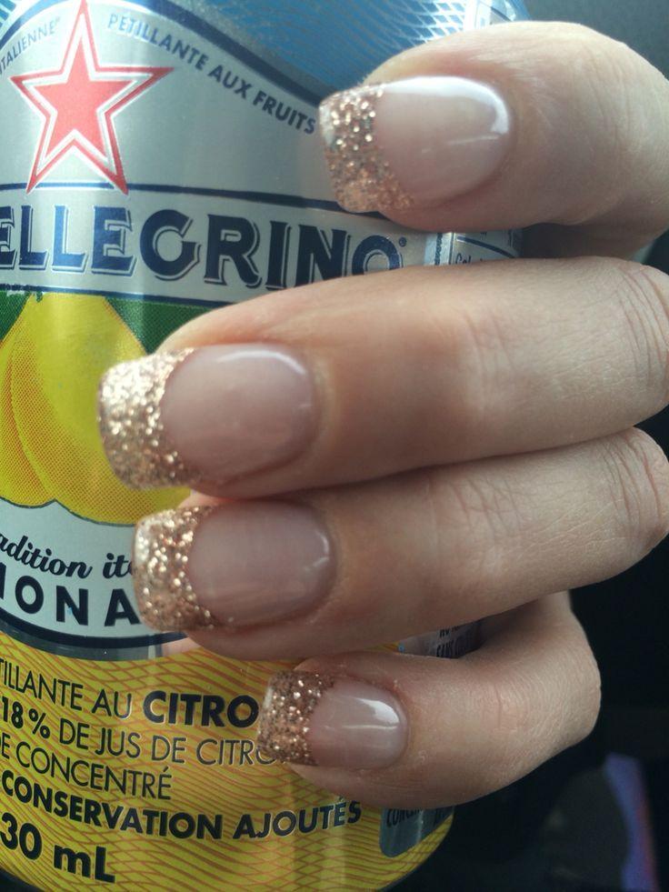 Nails rose gold french manicure nail design nail art for Acrylic toe nails salon