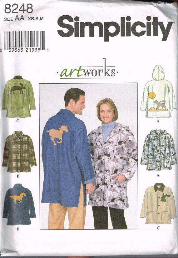 Size XS-M Misses or Mens Jacket Sewing Pattern - Zipper Hooded ...