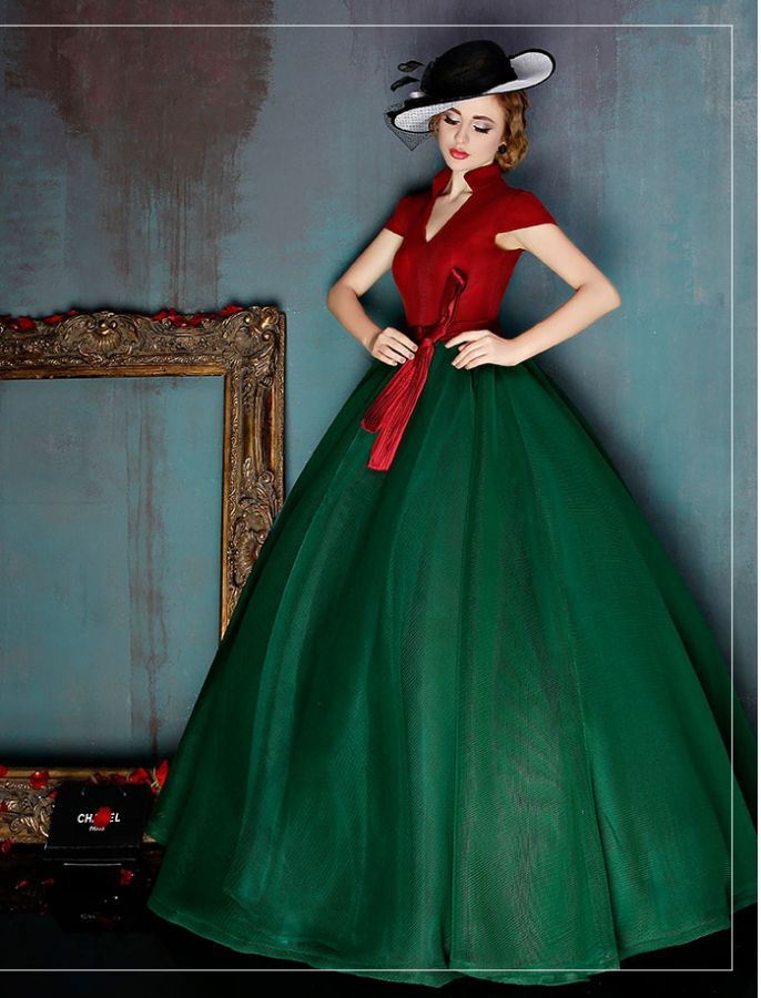 Vintage Inspired Color Block Ball Gown | gowns | Pinterest | Ball ...