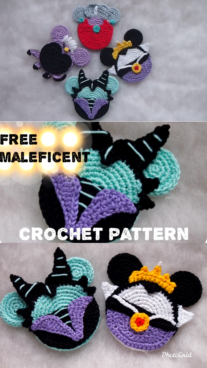 Maleficent Mouse Free crochet pattern This awesome villain ornaments will look great on your Christmas Tree! Ornaments are the perfect, handmade addition for you to work up and add to your Christmas decorations. Children will love them from year to year and can enjoy decorating the tree since they aren't breakable!