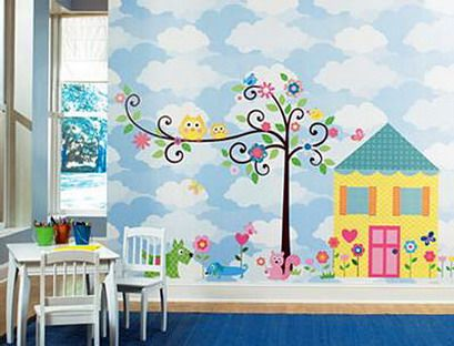 Kids Wall Murals kids-wall-murals-home-and-tree-images-and-with-owl-on-the-tree