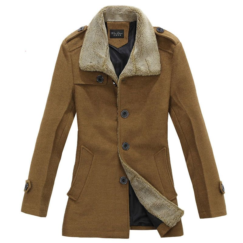 2012 brand new free shipping men's wool jacket coat mens winter long jacket Men's Thicken Winter Warm Outwear Size L-XXXL $99.49