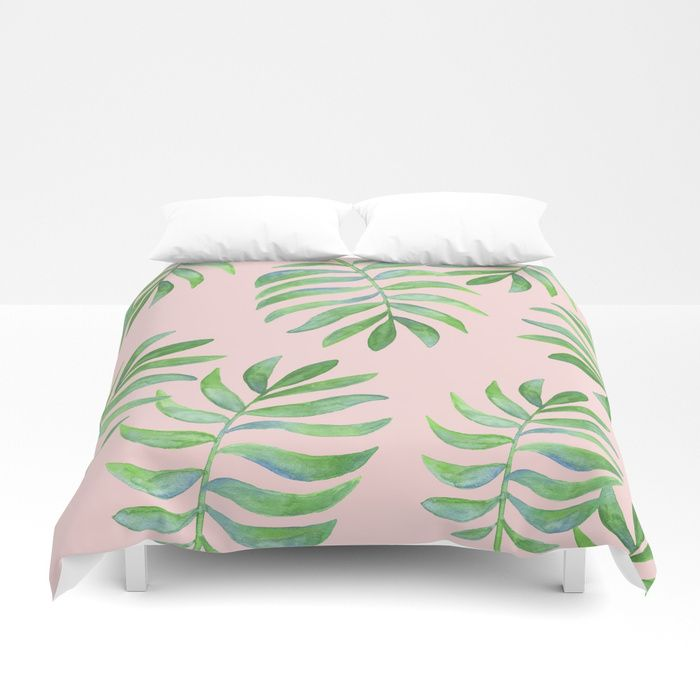 Watercolor Tropical Palm Leaf Pink Background Duvet Cover Tropical Bedroom Coastal Bedroom Beach Bedro Beach Bedroom Girls Duvet Covers Tropical Bedrooms