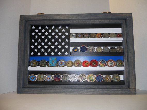 Thin Blue Line Coin Case, challenge coin display, Police