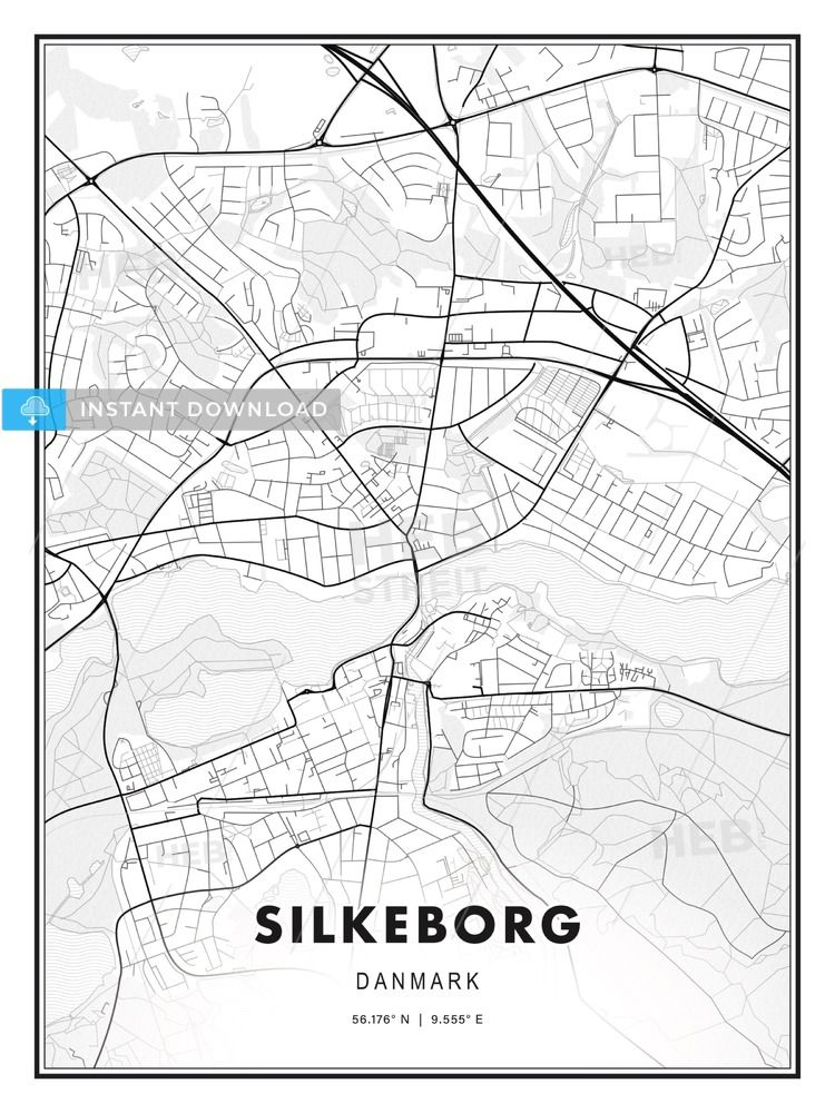 Silkeborg Denmark Modern Print Template In Various Formats Hebstreits Maps And Sketches Print Templates Printable Maps Modern Prints