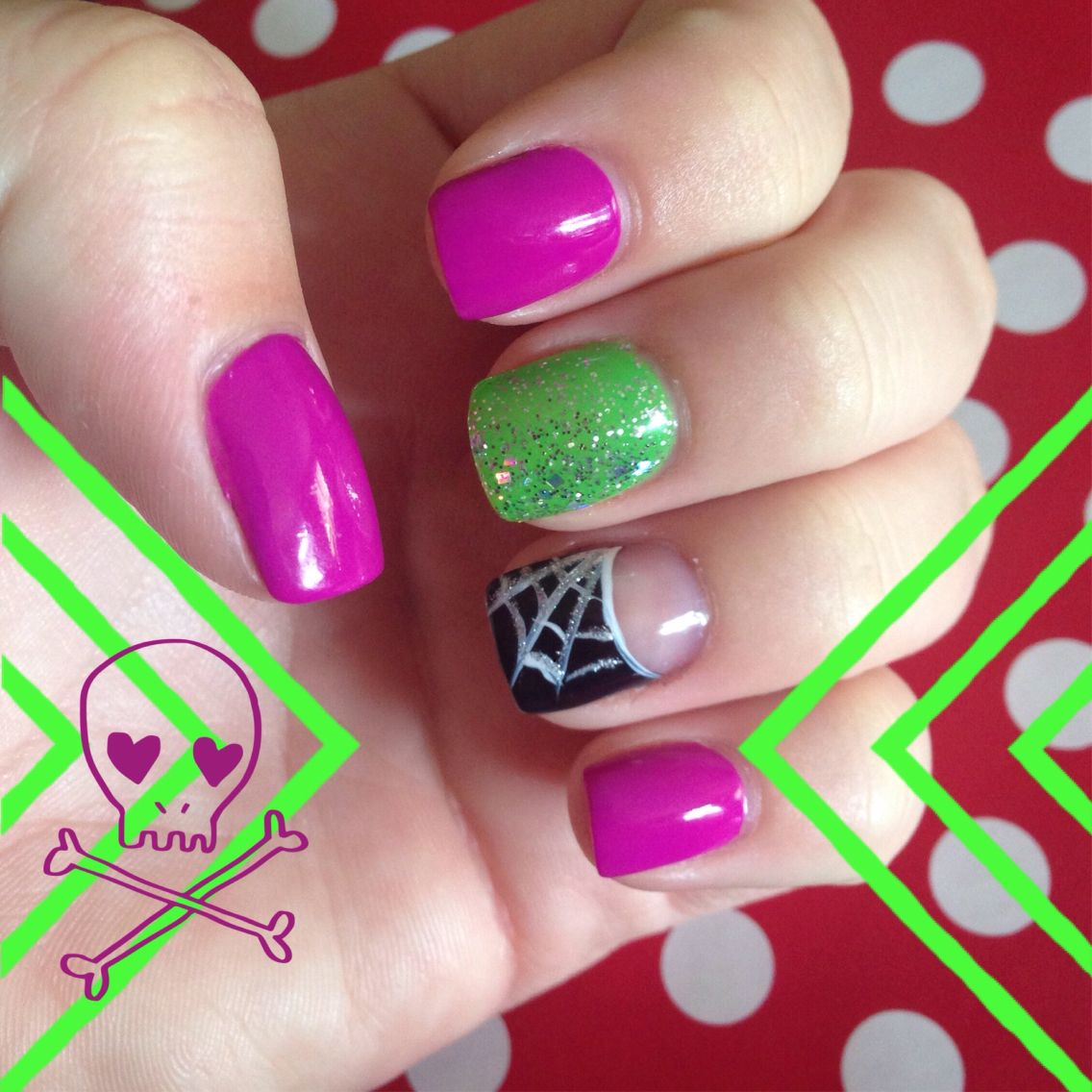 Purple and green Halloween nails | Halloween nails, Fun ...