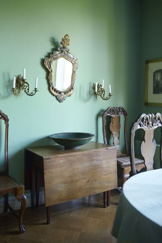 A Green Dining Room In Small Castle Via Kml Design
