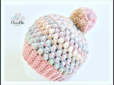 Einfache Mütze häkeln aus Büschelmaschen / Tolle Wintermütze häkeln ...