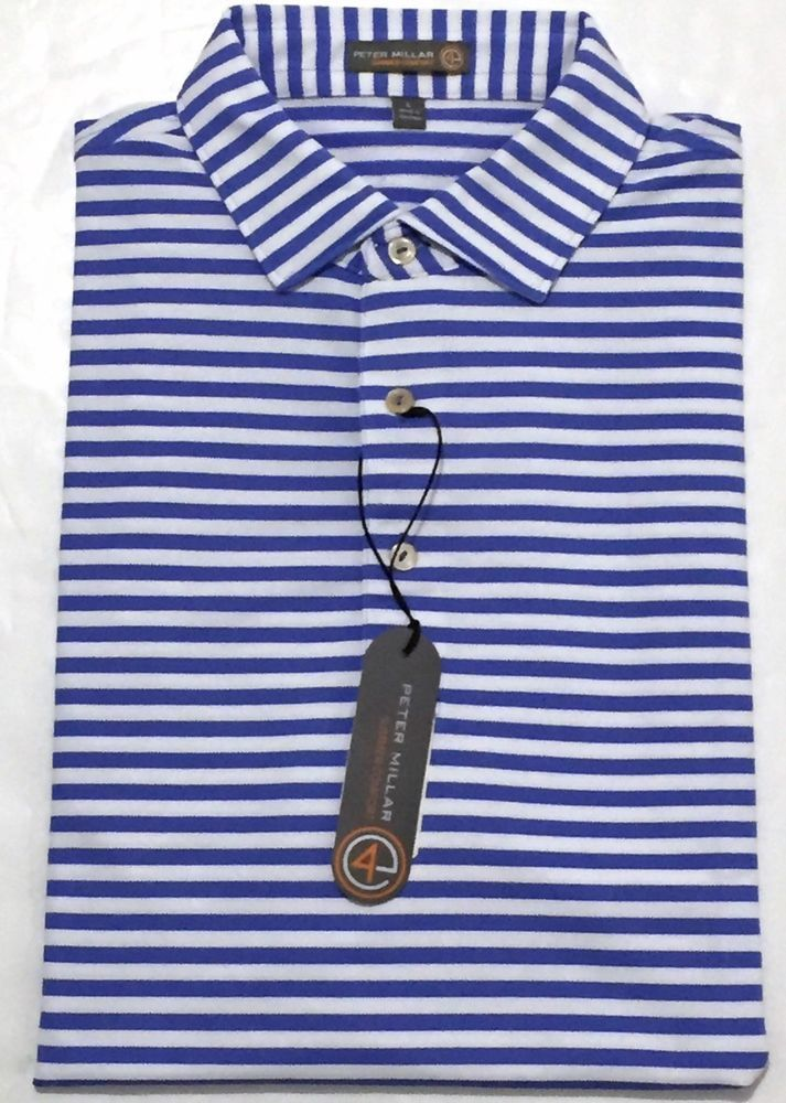 7ef8ad0218f New Peter Millar Cummings E4 Summer Comfort Purple Striped Polo Shirt Sz  Large