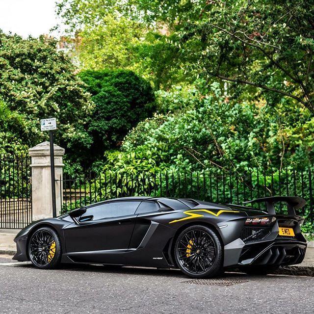 Matte Black Yellow Lamborghini Aventador Sv Aventadorsv