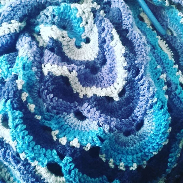 Working on this Virus Afghan using Caron Cakes Blueberry Cheesecake ...