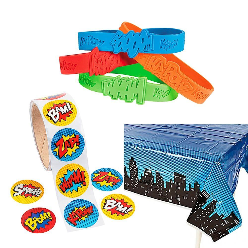 Amazon.com: Superhero Party Favor Supply Pack (1 table cover, 24 bracelets, 100…