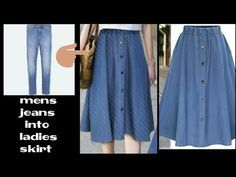 855cb80e8e4 DIY:Convert Old Jeans into skirt|In 10 minutes - YouTube | Women's ...