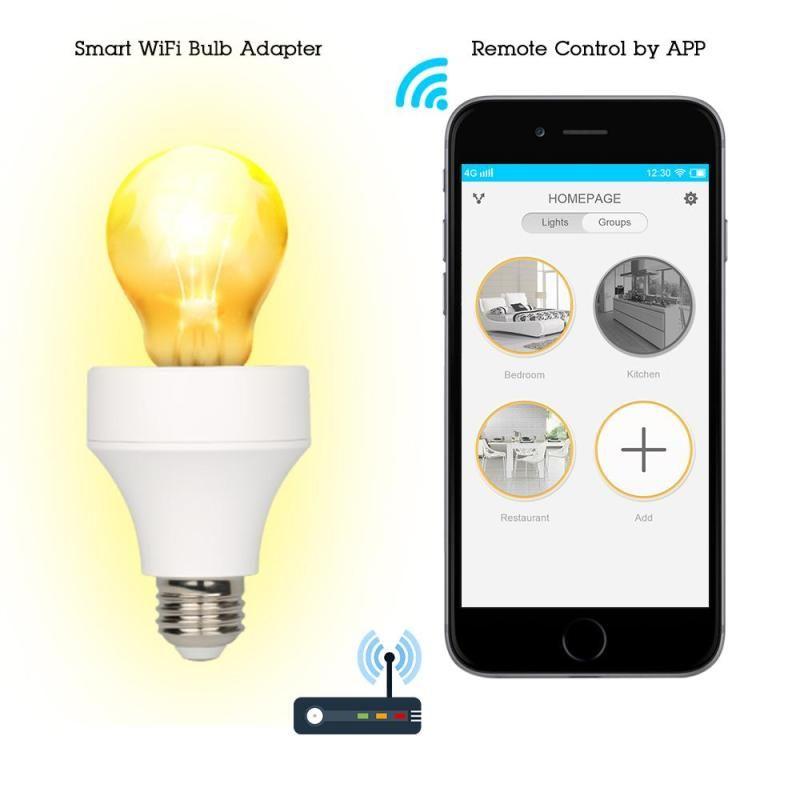 Wifi Smart 1 Pc Light Bulb Adapter Bulb Plug Amazon Alexa Timing Switch Remote Control Intelligent Lamp Hold Bulb Adapter Light Bulb Adapter Smart Light Bulbs