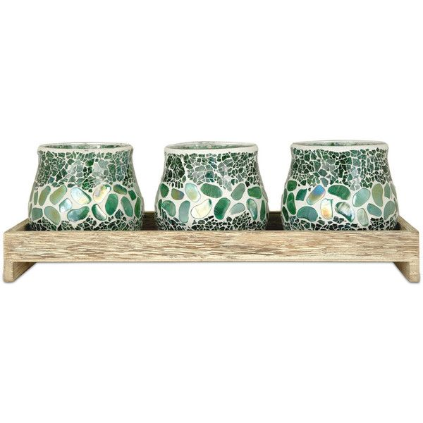 The Pomeroy Collection Green Pebble Candleholder Set 215